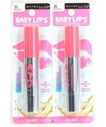 2 Ct Maybelline 35 Pink Smooch Baby Lips 12 Hr Hydration Color Balm Crayon - $16.99