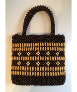 Wooden Beaded Purse Natural Brown Floral Fabric Lined Hand Bag Double Ha... - $32.00