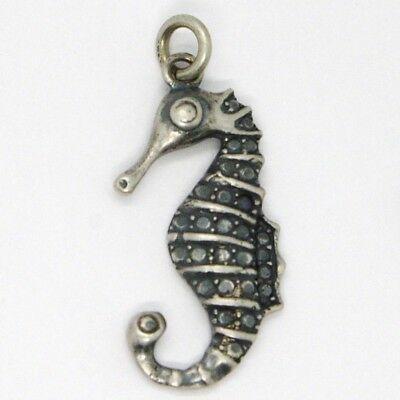 Silber Anhänger 925, Brüniert und Matt, Cavalluccio Navy, Hippocampus