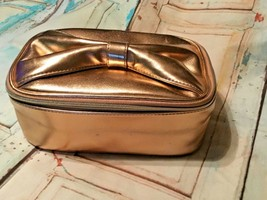 ULTA Beauty soft traincase cosmetic makeup bag rose gold metallic New - $9.49