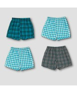 Hanes Premium Men's 2 PACK Woven Boxer Briefs - Plaid Small - $7.91