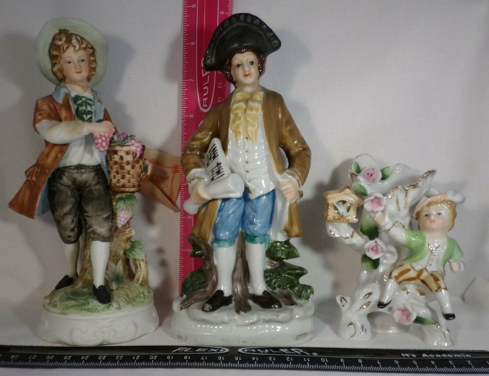 Figurines Lot 3 Porcelain 2 Large Men & Boy Various - Types & Positions Vintage - $8.91