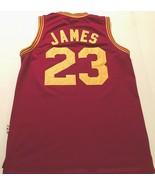 LeBron James #23 Cleveland Cavaliers NBA Wine Gold Throwbacks Swingman J... - $59.39