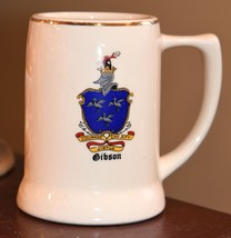 VINTAGE FAMILY CHREST BEER STEIN GIBSON FAMILY NAME COURAGE VIRTUE CHARI... - $29.99