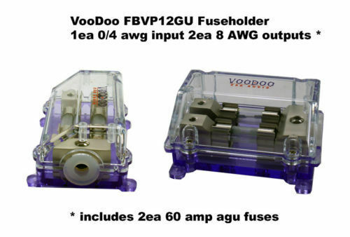 VOODOO 2 way 0-8 gauge Fused HOLDER/Distribution Block free fuses