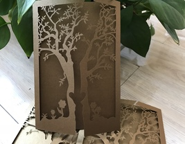 Tree Wedding Invitation,Brown Wedding Invitation Card,50pcs Laser Cut In... - $53.80