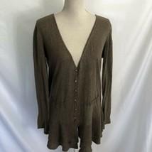 Anthropologie Line & Dot Brown Ruffled Cardigan Sweater Size Medium - $29.99