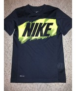 NIKE Girls/Boys T-Shirt Size S DRI-FIT Dark Grey & Yellow - $17.82