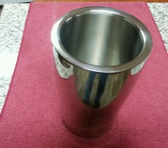 ART DECO Crate & Barrel Double Wall Stainless Steel Wine Chiller Cooler EUC - $12.75