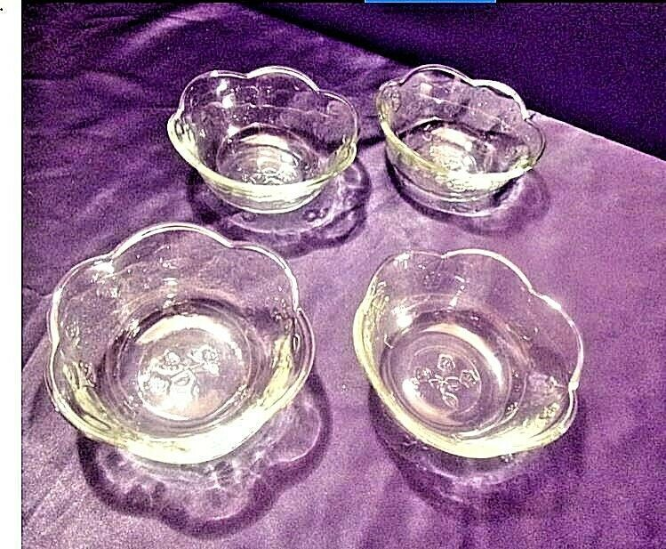 4 Vintage medium weight etched glass bowl floral designs AA19-LD11923