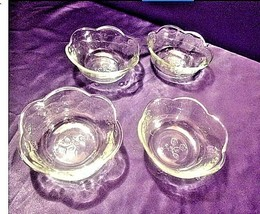 4 Vintage medium weight etched glass bowl floral designs AA19-LD11923 image 1