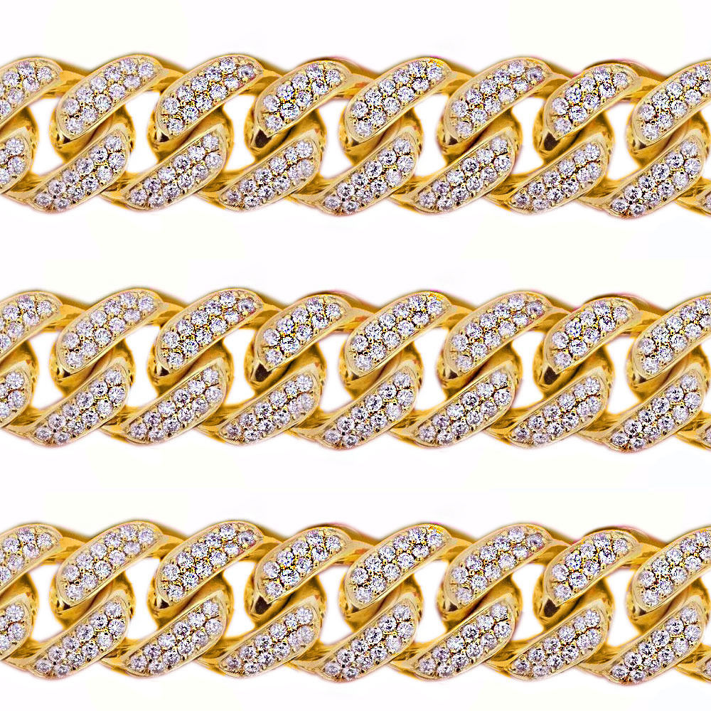 45CT Mens Solid Yellow Gold Heavy Miami Cuban Link 17 MM Real Diamond Chain