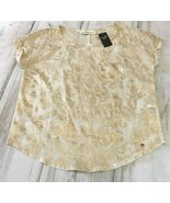 NWT! ABERCROMBIE & FITCH Women's Beige & Gold Blouse Top Shirt (Store$68)  - $14.99