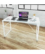 Modern Office Computer Desk Glass White Frame Large Home Student Kids Fu... - $96.67
