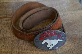 Vintage Calgary Stampeders CFL Football Belt Buckle on Tooled Leather Belt - $43.95