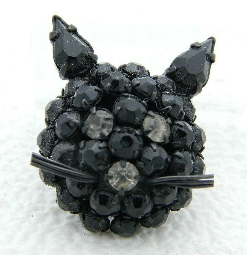 Primary image for Vintage Warner Japanned Black Clear Rhinestones Cat Head Face Brooch Pin