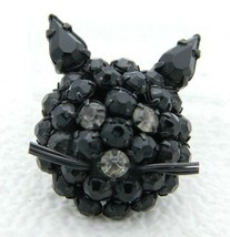 Vintage Warner Japanned Black Clear Rhinestones Cat Head Face Brooch Pin - $84.15