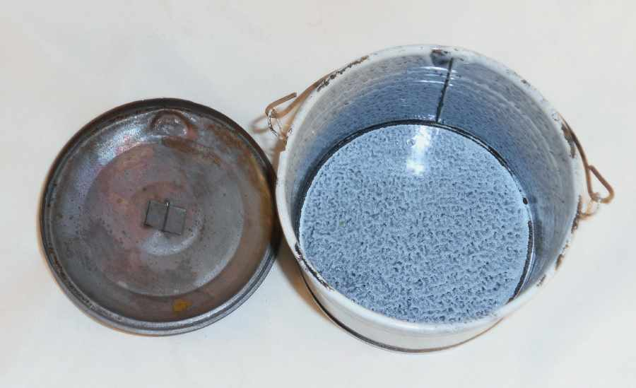 Antique Mottled Blue Gray Agateware Lidded Berry Bucket or Pail with Wire Handle