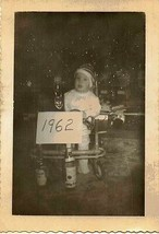 Old Vintage Antique Photograph Cute Little Baby Bartending New Year's Ev... - $6.93