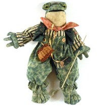 """Frog with Fishing Pole & Catch Basket Shelf Sitter 15"""" tall My Collectio... - $8.49"""