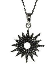 Sterling Silver Black Spinel Sun Flower Pendant Necklace For Women Retro... - $26.14