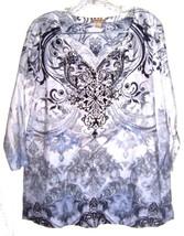 Plus Size 1X/2X ~ Energie Gray & White Tie Dye Floral Top w/Silver Stud ... - $23.74