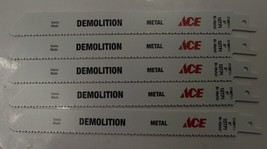"ACE  2198711 8"" x 10TPI Bi-Metal Demo Cutting Recip Saw Blade 5pc Swiss - $5.94"