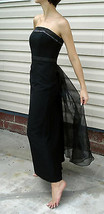 David's Bridal Strapless Dress size 8 Black Formal Party Brides Maid Gown - £30.20 GBP