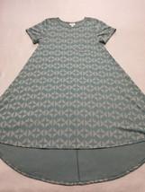 Lularoe XS Extra Small Aqua Gray Geometric Stripe Carly Dress Super Soft - $26.99