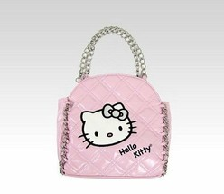 Sanrio Hello Kitty Rosa Chain-Link Bolso Bandolera Coco Acolchado Cara Charol
