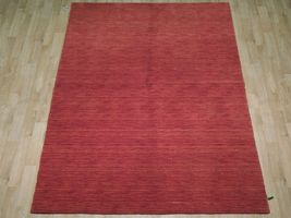 5' x 7' Shades of Red Soft Modern Red Gabbeh Wool Hand-Knotted Rug image 4