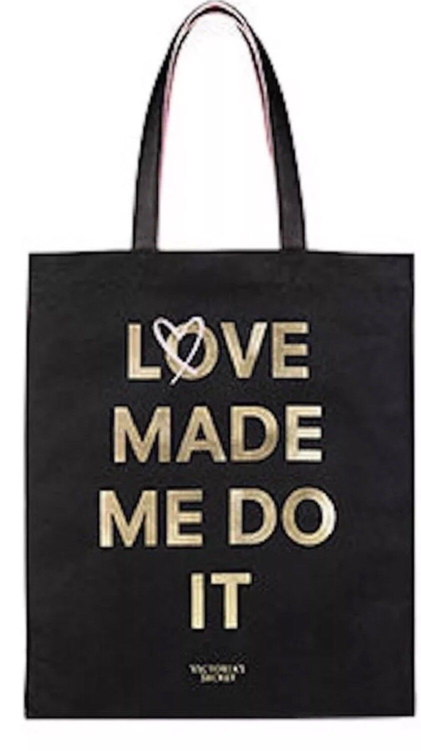 """Victoria's Secret Tote Double Bag """"Love Made Me Do It""""  Logo Limited Edition NWT - $19.79"""