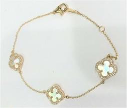 Alexa & Tori Quatrefoil Clover Bracelet Gold Plated 925 Silver, Crystals... - $36.62