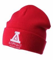 Asphalt Yacht Club Mens Red Solid Triangle Cuff Fold Skate Beanie Winter Hat NWT image 1