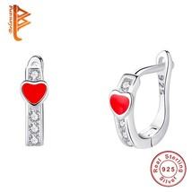 Fashion Red Enamel Small Heart Cubic Zirconia Stud Earrings for Women Gi... - $17.78