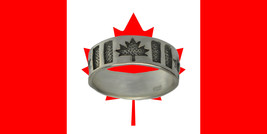 NICE Canada Day 150 Happy Birthday flag Maple leaf ring sterling silver ... - $19.90