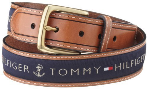 Tommy Hilfiger Men's Ribbon Inlay Belt, Navy, 32