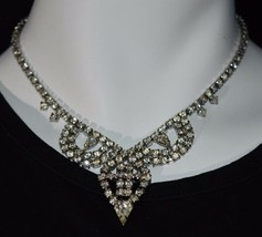 VTG Silver Tone Clear White Rhinestone CZ Pendant Art Deco Necklace Chok... - $29.70