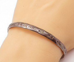 MEXICO 925 Silver - Vintage Antique Dark Tone Patterned Bangle Bracelet ... - $51.43