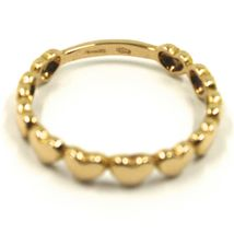 SOLID 18K YELLOW GOLD BAND RING, ROW OF ROUNDED HEARTS, HEART, MADE IN ITALY image 4