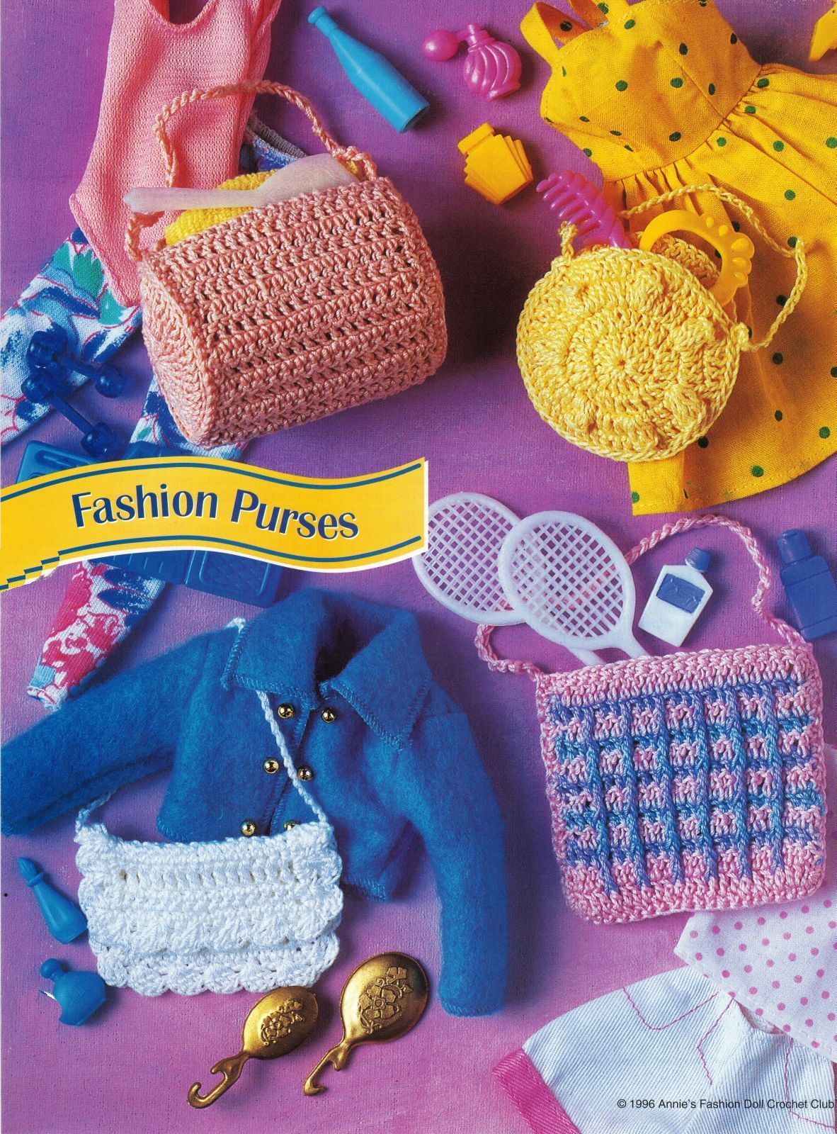 "Primary image for Barbie 11-1/2"" Doll Dress In Purse Tote Duffel Shoulder Bag Crochet Pattern"