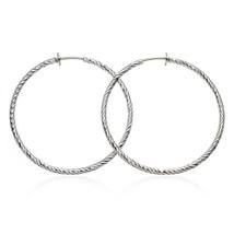 """Medium 1.5"""" Round Silvertone Textured Hoop Fash... - $25.92"""