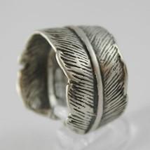 925 Silber Ring Brüniert Bandeau in Form von Daunen Made in Italy image 2