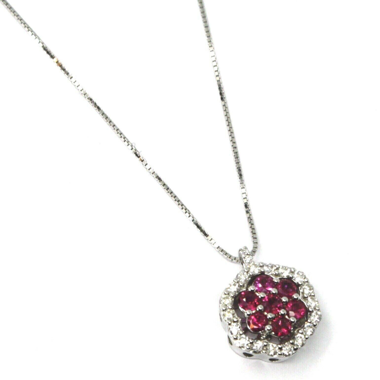 18K WHITE GOLD NECKLACE HEXAGON FLOWER RED RUBY DIAMOND PENDANT VENETIAN CHAIN