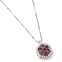 18K WHITE GOLD NECKLACE HEXAGON FLOWER RED RUBY DIAMOND PENDANT VENETIAN CHAIN image 1