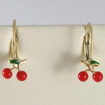 Baby Earrings in Yellow 750 18k charms, with Enamel Cherries, 1.7 cm image 1