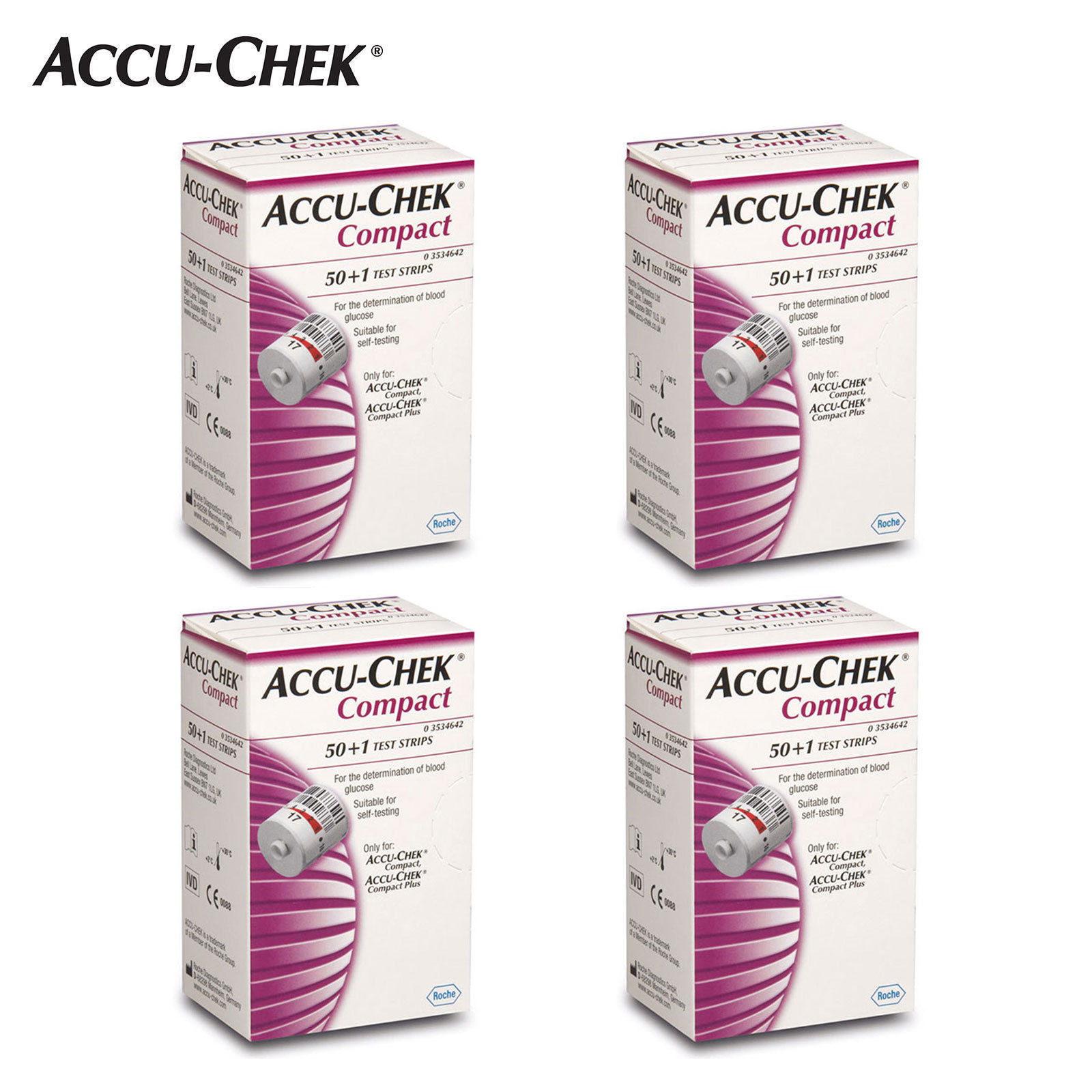 Accu-Chek Compact blood glucose Test Strips 4box (204 Sheets)