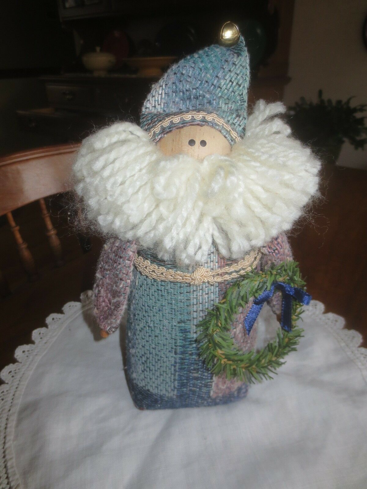 "Primary image for Weighted Cloth SANTA CLAUS with Wreath HOME DECOR Figurine - 10"" x 3 1/2"" Wide"