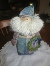 """Weighted Cloth SANTA CLAUS with Wreath HOME DECOR Figurine - 10"""" x 3 1/2... - $4.95"""