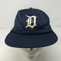 VTG Detroit Tigers Blue Mesh Snapback Hat Sz Medium Large Baseball MLB  - $123.74